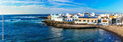 Scenic colorful traditional villages of Fuerteventura - El Cotillo. Canary islands