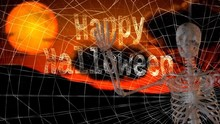 Happy Halloween Skeleton Wave 4K Features The Words Happy Halloween Written In A Spider's Web With A Skeleton Coming Into The Scene Waving At The Viewer.