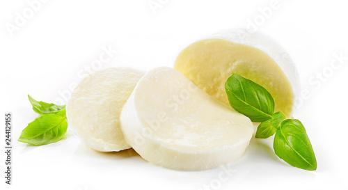 Fototapeta Mozzarella cheese on white background obraz