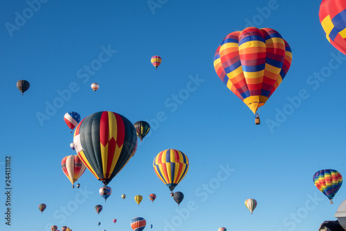 Aluminium Prints Balloon hot air balloons in the sky
