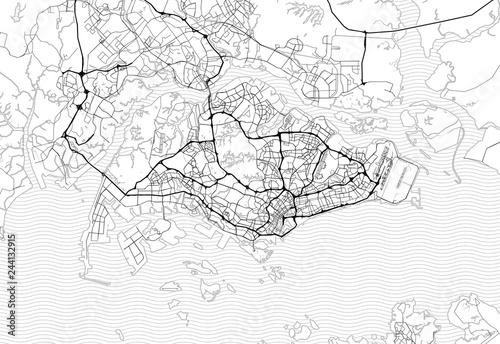 Fototapeta Area map of Singapore, Singapore