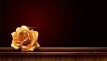 Golden Rose On Wood Table