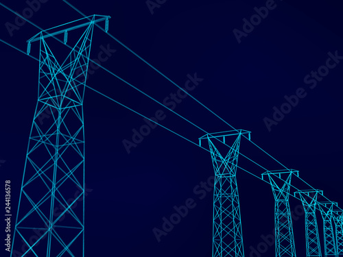 Electrical towers with wires Canvas-taulu