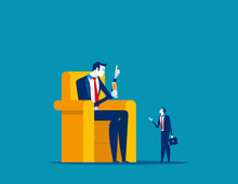 Big Boss Sitting On Chair And Talking Employee. Concept Business Vector Illustration, Meeting, Communication, Large