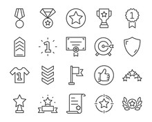 Set Of Award Line Icons, Such ...