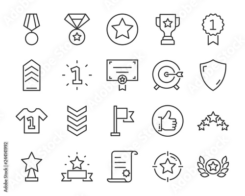 Obraz na plátne  set of award line icons, such as star, champion, prize, acheivement, winner, tro