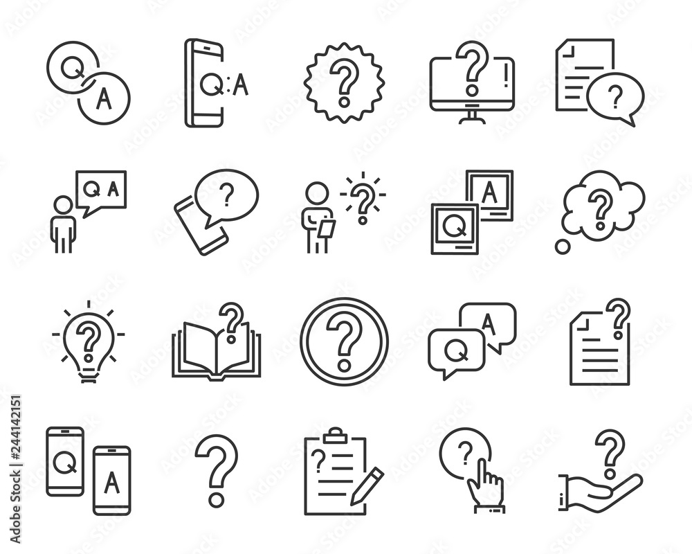 Fototapeta set of question icons, such as, question mark, talk, answer, test, learning