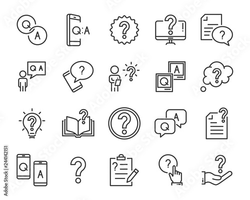 set of question icons, such as, question mark, talk, answer, test, learning Canvas Print