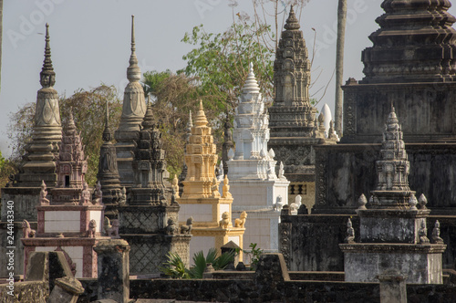 Obraz na plátně Stupa, Nokor Bachay Pagoda, Kampong Cham, Cambodia