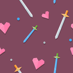 Vector pattern with swords and hearts