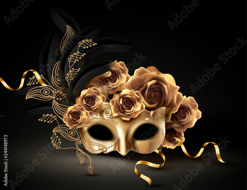 Obraz Golden carnival mask - fototapety do salonu