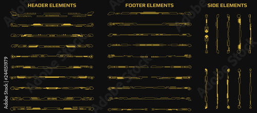 Fotografia  HUD Futuristic Header Footer And Side Elements Set For UI Game Inforgraphic Frame Vector