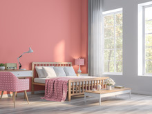 Coral Pink Bedroom With Nature...