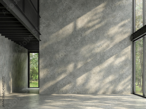 Loft space empty room with nature view 3d render,There are polished concrete floor and wall,black steel structure,There are large windows look out to see the nature,sunlight shining into the room. - 244152573