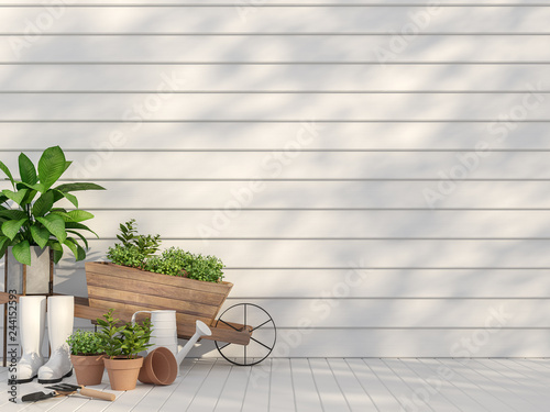 Outdoor Terrace With Garden Equipment 3d Render There Are Empty