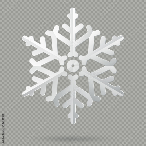 White realistic folded paper Christmas snowflake with shadow
