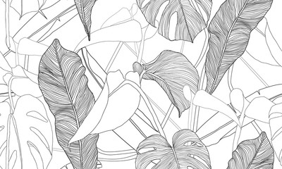 Vector tropski bešavni uzorak. Egzotične biljke izolirane na bijeloj pozadini. Ručno nacrtani tekstilni tisak.