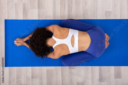 Canvas Woman Doing Yoga On Fitness Mat