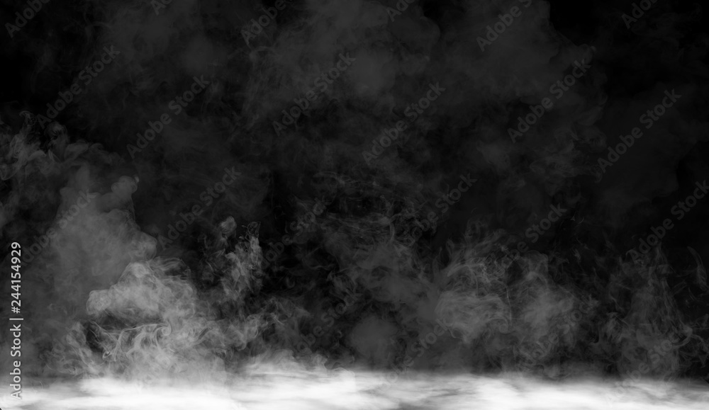 Fototapety, obrazy: fog or smoke isolated special effect on the floor. White cloudiness, mist or smog background