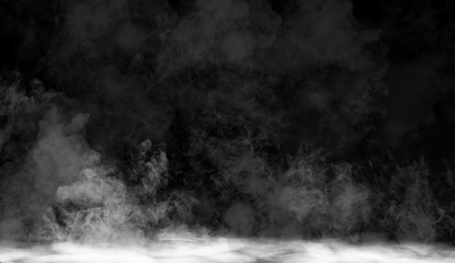 fog or smoke isolated special effect on the floor. White cloudiness, mist or smog background