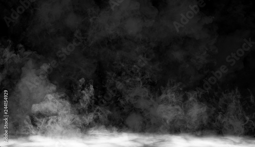 Poster Fumee fog or smoke isolated special effect on the floor. White cloudiness, mist or smog background