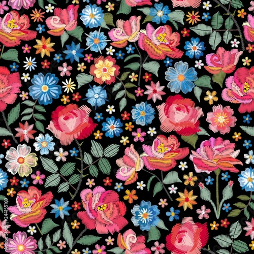 embroidery-seamless-pattern-with-beautiful-flowers-bright-floral-print-with-spanish-motives-fashion-design-with-satin-stitch-vector-embroidered-illustration