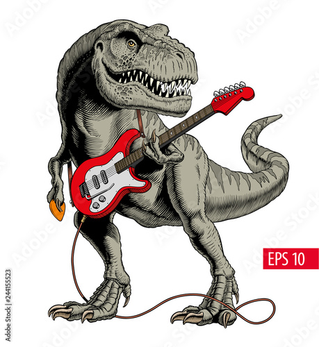 Fotografia, Obraz Dinosaur playing electric guitar