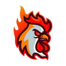 Rooster Hot Chicken Esport Logo Mascot Template Vector Illustration