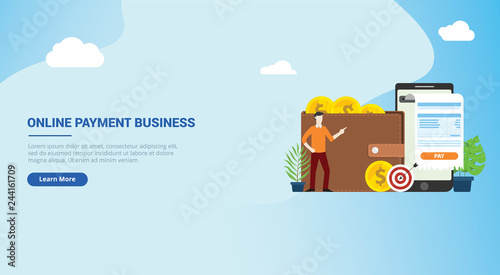 Photo  website design landing page ui for mobile online payment technology with busines