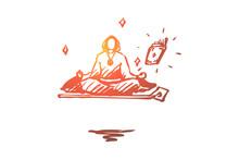Magician, Wizard, Levitation, Yoga, Guru Concept. Hand Drawn Isolated Vector.