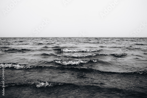 waves in the sea black and white photo