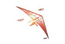 Hang Glider, Extreme, Sky, Sport, Fly Concept. Hand Drawn Isolated Vector.