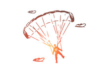 Parachutist, Extreme, Skydiving, Sport, Fly Concept. Hand Drawn Isolated Vector.