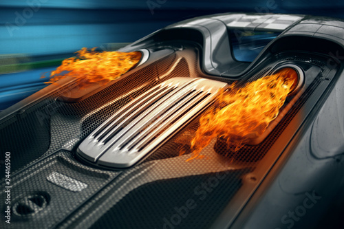 Fotografie, Obraz  Supercar engine exhaust with a fire flame