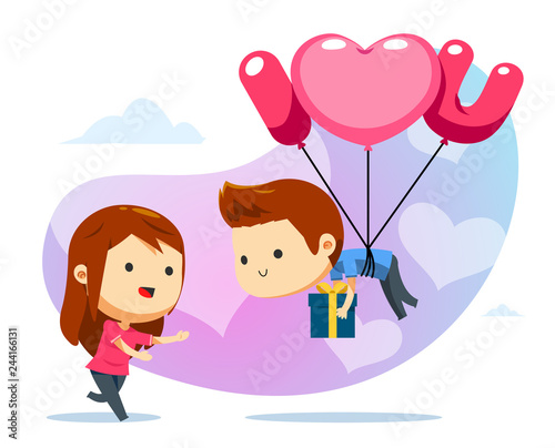 Photo  A floating boy with balloon and a girl ready to catch