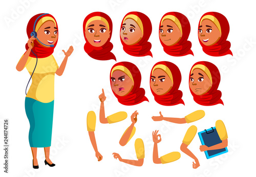 Online Consultant Worker Face Emotions Various Gestures Animation Creation Set Isolated Flat Cartoon Character Illustration