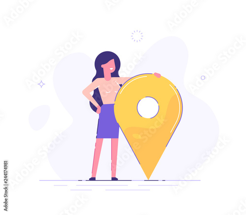Fotografie, Obraz  Businesswoman is standing close to big map pointer