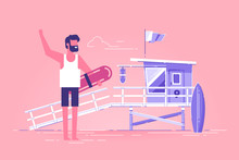 Young Positive Lifeguard Is Standing On A Beach And Holding Rescue Buoy With Lifeguard Station On Background. Modern Character Design. Flat Vector Illustration.