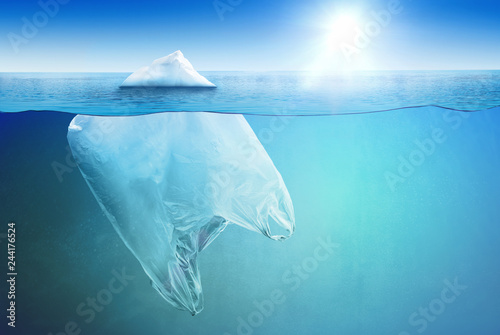 Poster Glaciers Huge plastic bag floating in the open sea as an iceberg