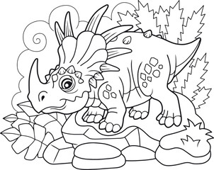 cartoon cute prehistoric dinosaur Styracosaurus, coloring book, funny illustration