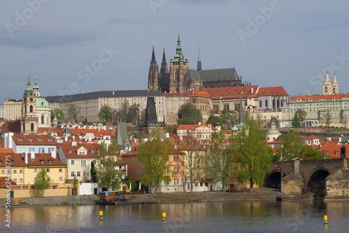 Fotografia  April morning in old Prague. View of St. Vitus Cathedral