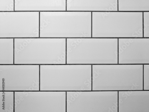 Grey Grout White Rectangle Tiled