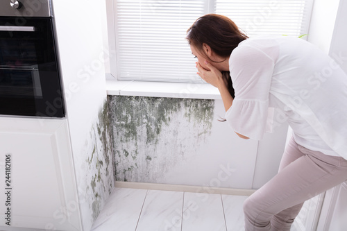 Fotografiet Woman Looking At Mold On Wall