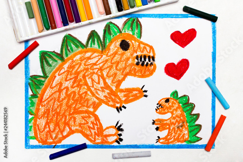 Colorful Drawing Two Cute Monsters Mother And Her Child Orange