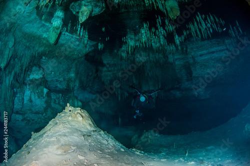 Scuba diving in the Cenote Dreamgate, Mexico