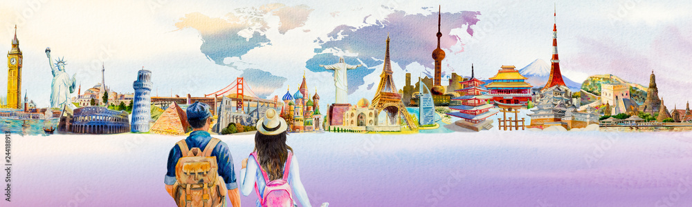 Fototapety, obrazy: World travel and sights. Famous landmarks of the world.