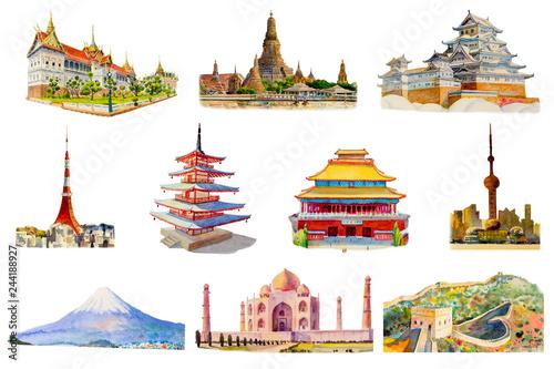 Fotografie, Obraz  Painting illustration, landmark of Asia on white background