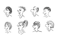 Vector Illustration Of 8 Caricature Faces: Various Facial Expression Comic Cartoon Style.