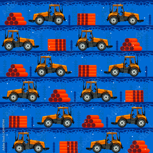 Poster de jardin Route Seamless patterns with tractors. For decoration, wrapping, print or advertising.