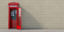 Red Phone Booth With Hanging Receiver On Wall Background. London, British And English Symbol. Anonymous Call Concept.